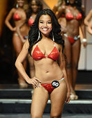 Jessica Jano of Pattaya Thailand competes in the 20th annual Hooters International Swimsuit Pageant at The Pearl concert theater at Palms Casino...