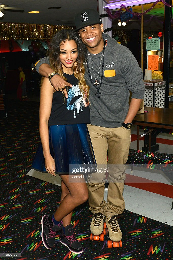 Jessica Jarrell and Tristan Wilds arrive at Pastry Shoes 'Skate & Donate' benefitting Toys For Tots on December 8, 2012 in Glendale, California.