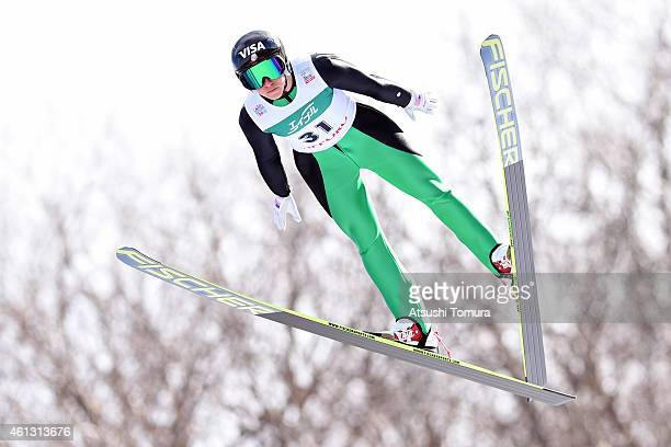 Jessica Jerome of the United States competes in the normal hill individual first round during the FIS Women's Ski Jumping World Cup Sapporo at...