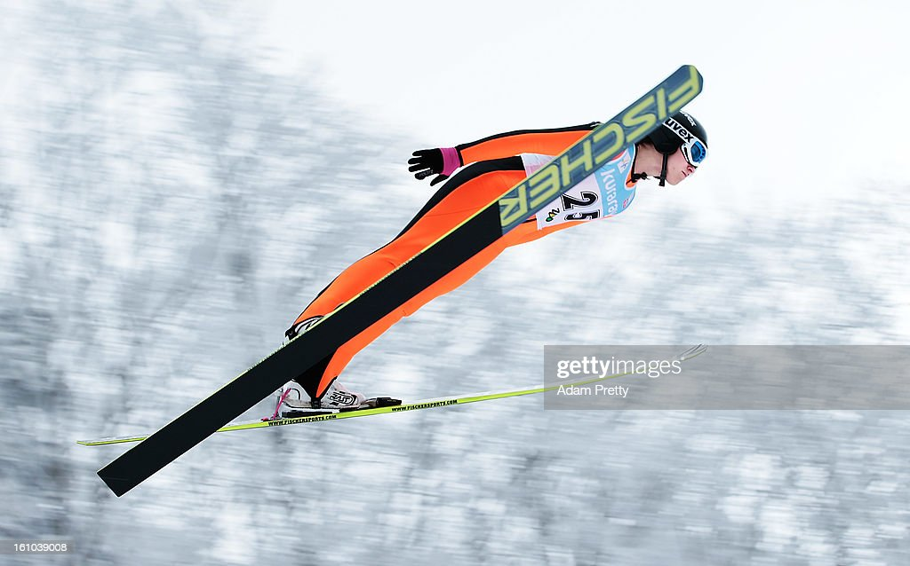 Jessica Jerome of the USA jumps in the first round of competition during day one of the FIS Women's Ski Jumping World Cup at Zao Jump Stadium on February 9, 2013 in Yamagata, Japan.