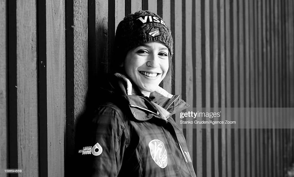 Image has been converted to black and white.) Jessica Jerome of the USA Women's Ski Jumping Team poses on December 15, 2012 in Ramsau, Austria.