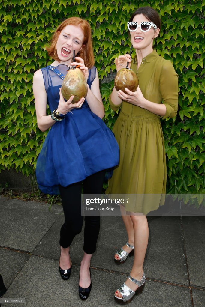 Jessica Joffe and Hanneli Mustaparta pose at the Schumacher After Show Party at Brandenburg Gate on July 4, 2013 in Berlin, Germany.
