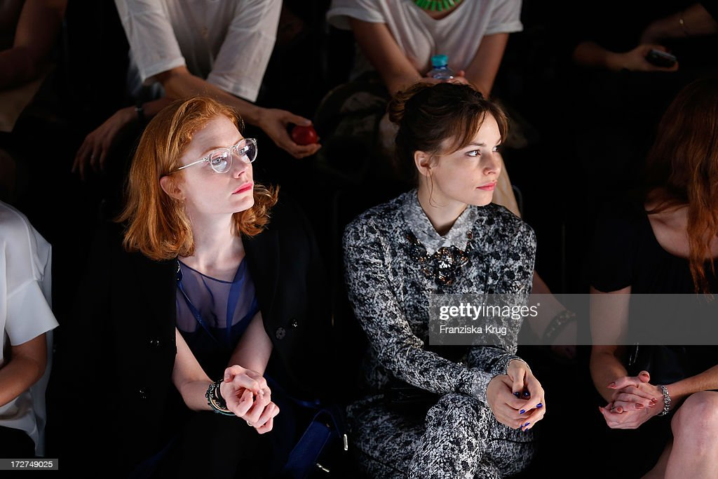Jessica Joffe (L) and Mina Tander attend the Schumacher Show during Mercedes-Benz Fashion Week Spring/Summer 2014 at Brandenburg Gate on July 4, 2013 in Berlin, Germany.