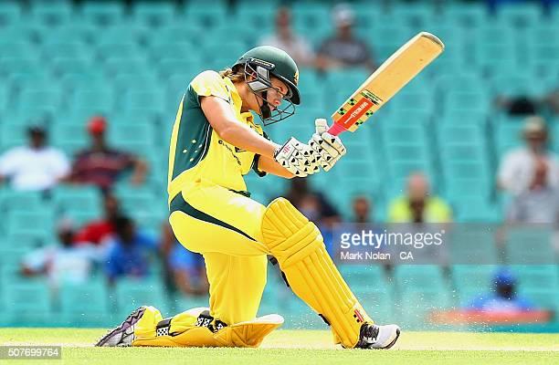 Jessica Jonassen of Australia bats during the International Twenty20 match between Australia and India at Sydney Cricket Ground on January 31 2016 in...