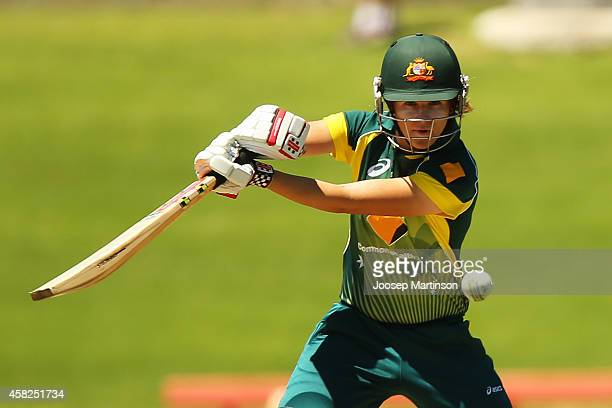 Jessica Jonassen of Australia bats during the women's International Twenty20 match between Australia and the West Indies at North Sydney Oval on...