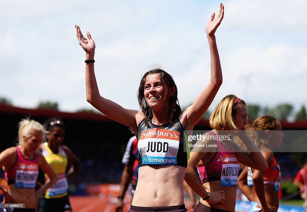 Jessica Judd of Great Britain celebrates winning the Womens 800m during the Sainsbury's Grand Prix Birmingham IAAF Diamond League at Alexander Stadium on June 30, 2013 in Birmingham, England.