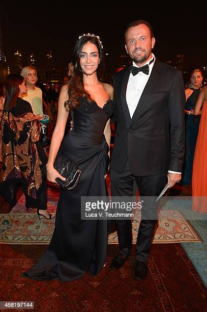 Jessica Kahawaty and Chief Design Officer of PepsiCo Mauro Porcini at the Gala Event during the Vogue Fashion Dubai Experience on October 31 2014 in...