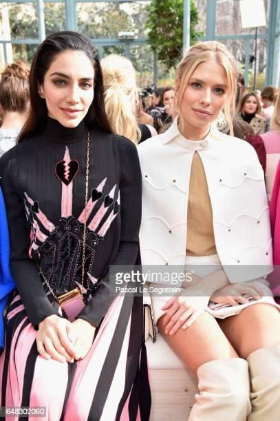 Jessica Kahawaty and Elena Perminova attend the Valentino show as part of the Paris Fashion Week Womenswear Fall/Winter 2017/2018 on March 5 2017 in...