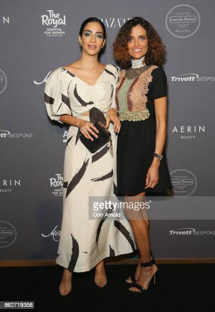 Jessica Kahawaty and her mother arrive ahead of BAZAAR in Bloom at The Ivy on October 18 2017 in Sydney Australia
