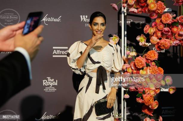 Jessica Kahawaty arrives ahead of BAZAAR in Bloom at The Ivy on October 18 2017 in Sydney Australia