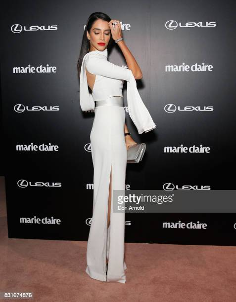 Jessica Kahawaty arrives ahead of the 2017 Prix de Marie Claire Awards on August 15 2017 in Sydney Australia
