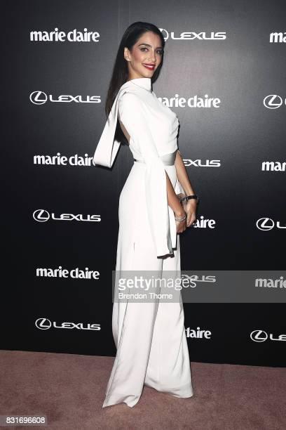 Jessica Kahawaty arrives ahead of the 2017 Prix de Marie Claire Awards on August 15 2017 in Sydney Australia