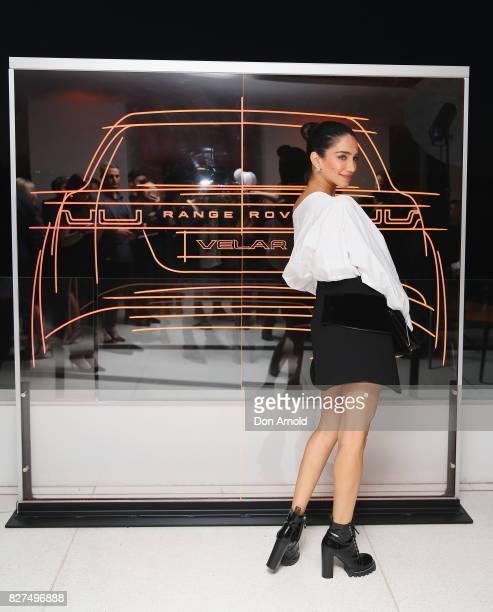 Jessica Kahawaty arrives ahead of the Range Rover Velar Launch on August 8 2017 in Sydney Australia
