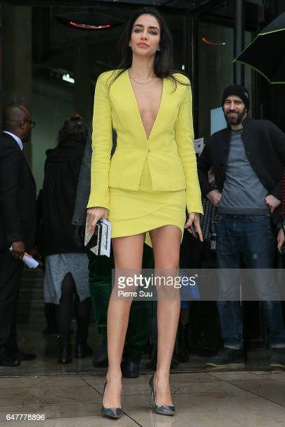 Jessica Kahawaty arrives at the Mugler show as part of the Paris Fashion Week Womenswear Fall/Winter 2017/2018 on March 4 2017 in Paris France