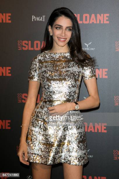 Jessica Kahawaty attends 'Miss Sloane' Premiere at Cinema UGC Normandie on March 2 2017 in Paris France