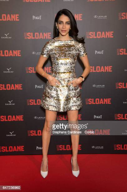 Jessica Kahawaty attends the 'Miss Sloane' Paris Premiere at Cinema UGC Normandie on March 2 2017 in Paris France