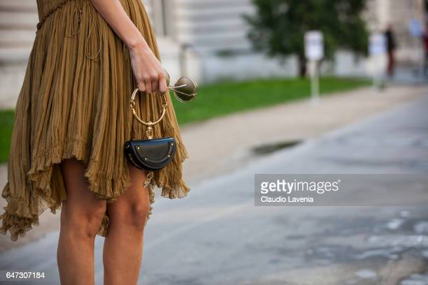 Jessica Kahawaty Chloe bag is seen in the streets of Paris before the Chloe show during Paris Fashion Week Womenswear Fall/Winter 2017/2018 on March...