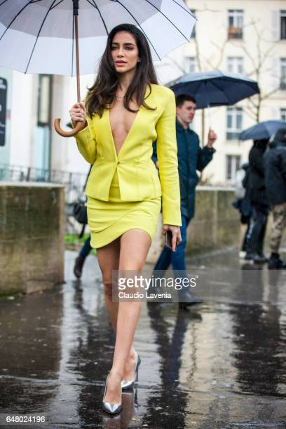 Jessica Kahawaty is seen in the streets of Paris before the Mugler show during Paris Fashion Week Womenswear Fall/Winter 2017/2018 on March 4 2017 in...