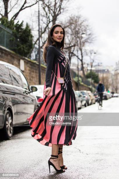 Jessica Kahawaty is seen in the streets of Paris before the Valentino show during Paris Fashion Week Womenswear Fall/Winter 2017/2018 on March 5 2017...