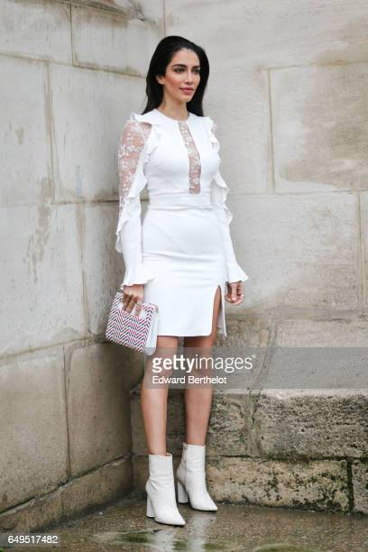 Jessica Kahawaty is seen outside the Elie Saab show during Paris Fashion Week Womenswear Fall/Winter 2017/2018 on March 4 2017 in Paris France