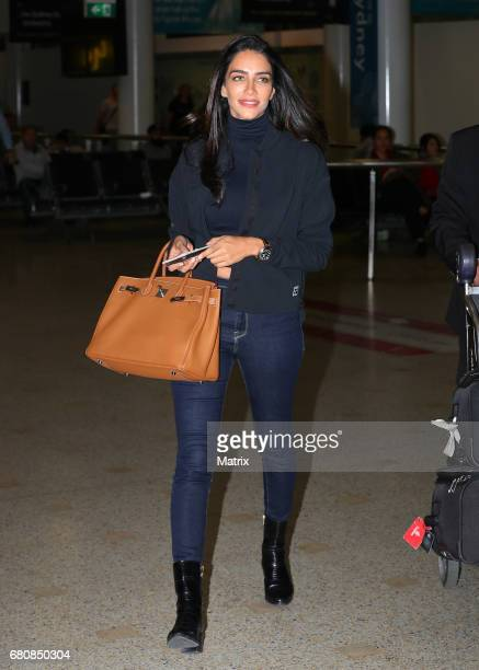 Jessica Kahawaty is seen upon arrival from Dubai ahead of Mercedes Benz Fashion Week on May 8 2017 in Sydney Australia
