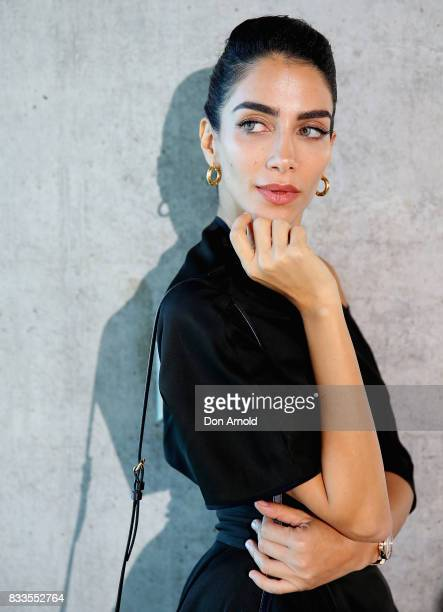 Jessica Kahawaty poses at the Myer Spring 2017 Fashion Launch on August 17 2017 in Sydney Australia