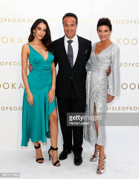 Jessica Kahawaty Rob Cromb and Danielle Vagner arrive ahead of the KOOKAI Spring/Summer 17/18 Collection Launch on October 4 2017 in Sydney Australia