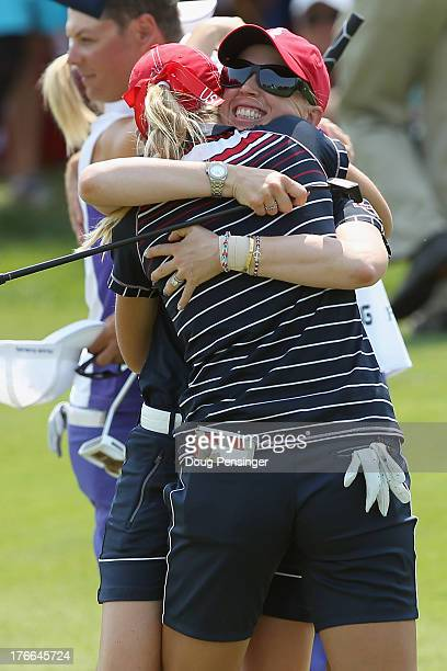 Jessica Korda and Morgan Pressel of the United States celebrate their 32 victory over Catriona Matthew of Great Britain and Jodi EwartShadoff of...