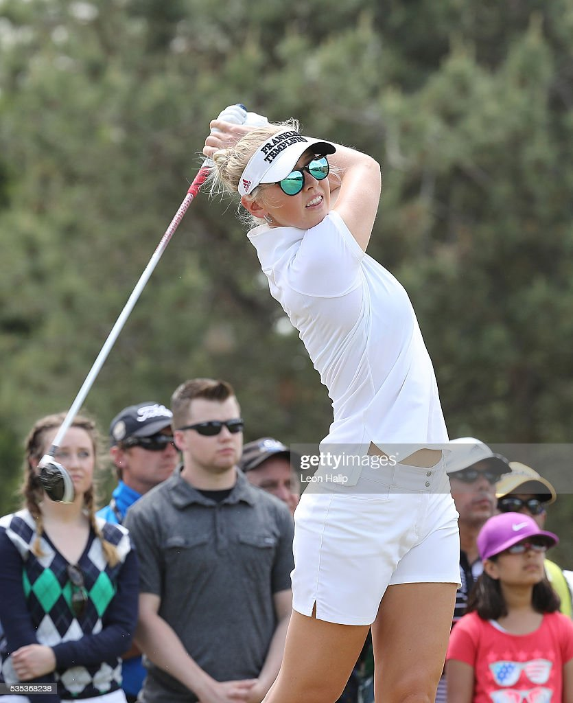 <a gi-track='captionPersonalityLinkClicked' href=/galleries/search?phrase=Jessica+Korda&family=editorial&specificpeople=5410628 ng-click='$event.stopPropagation()'>Jessica Korda</a> from the United States hits her tee shot on the sixth hole during the final round of the LPGA Volvik Championship on May 29, 2016 at Travis Pointe Country Club in Ann Arbor, Michigan.