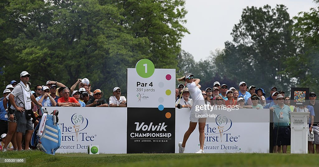 <a gi-track='captionPersonalityLinkClicked' href=/galleries/search?phrase=Jessica+Korda&family=editorial&specificpeople=5410628 ng-click='$event.stopPropagation()'>Jessica Korda</a> from the United States tees off on the first hole during the final round of the LPGA Volvik Championship on May 29, 2016 at Travis Pointe Country Club in Ann Arbor, Michigan.