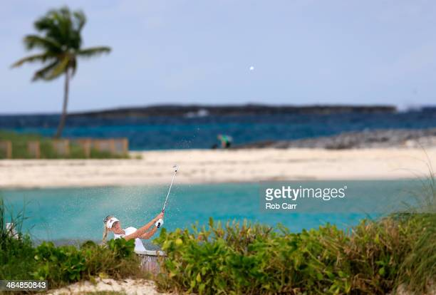 Jessica Korda hits her second shot to the eighth hole during round two of the Pure Silk Bahamas LPGA Classic at the Ocean Club course on January 24...