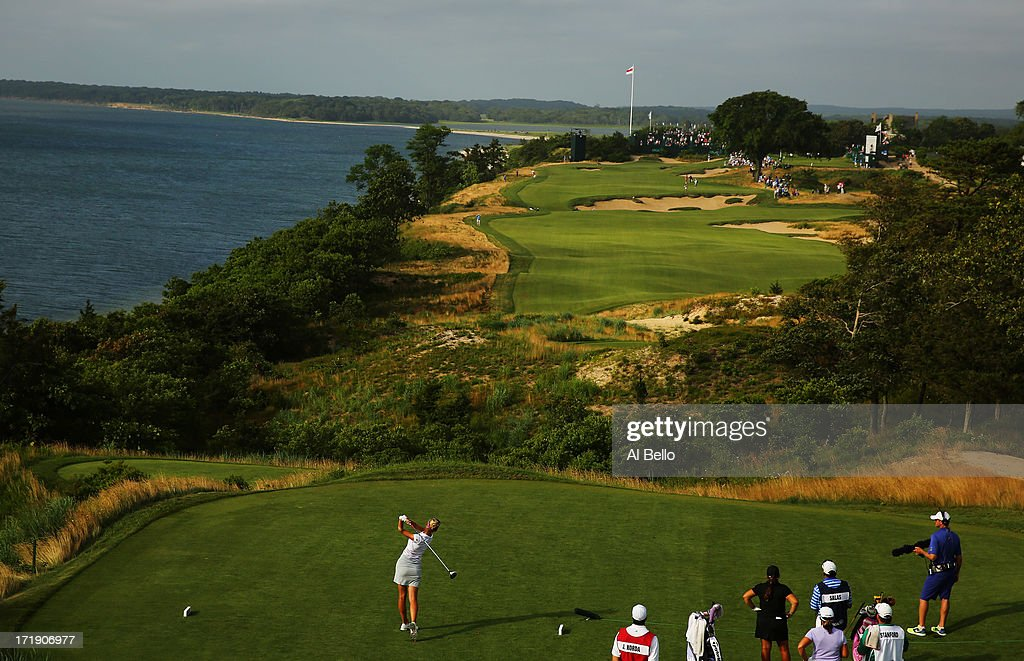 Jessica Korda hits the ball on the eighteenth tee during the third round of the 2013 U.S. Women's Open at Sebonack Golf Club on June 29, 2013 in Southampton, New York.