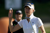 Jessica Korda of Bradenton FL acknowledges the crowd after finishing the inaugural LPGA Volvik Championship at Travis Pointe Country Club in Ann...