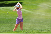 Jessica Korda of Bradenton Florida hits from the sand trap toward the 7th green from the fairway during the second round of the Meijer LPGA Classic...