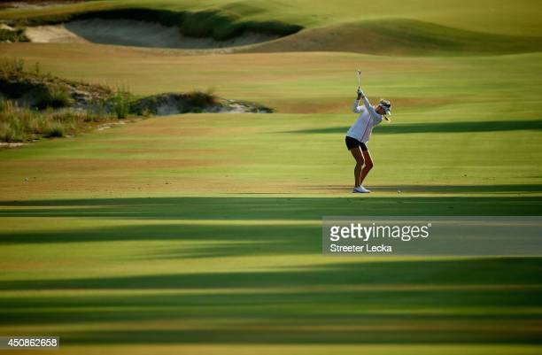 Jessica Korda of the United States hits a shot on the first hole during the first round of the 69th US Women's Open at Pinehurst Resort Country Club...