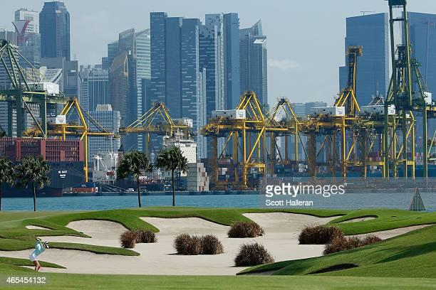 Jessica Korda of the United States hits her approach shot on the fifth hole during the third round of the HSBC Women's Champions at the Sentosa Golf...