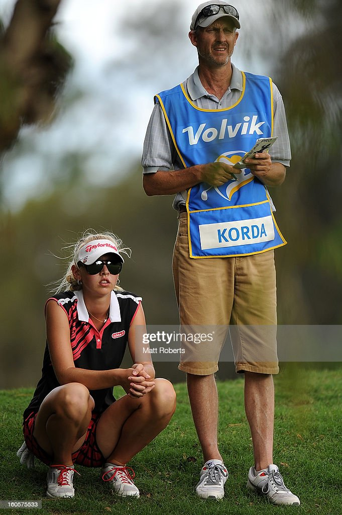 <a gi-track='captionPersonalityLinkClicked' href=/galleries/search?phrase=Jessica+Korda&family=editorial&specificpeople=5410628 ng-click='$event.stopPropagation()'>Jessica Korda</a> of the United States lines up her shot in the rough on the 17th hole during the Australian Ladies Masters at Royal Pines Resort on February 3, 2013 on the Gold Coast, Australia.