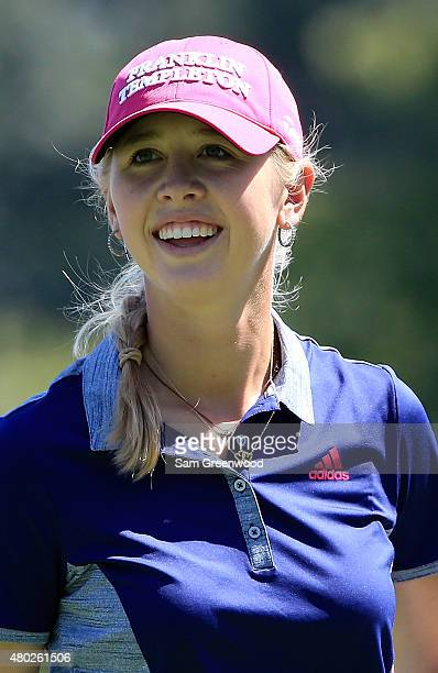 Jessica Korda of the United States smiles on the 8th hole during the second round of the US Women's Open at Lancaster Country Club on July 10 2015 in...