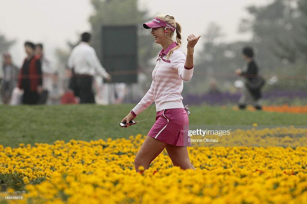 <a gi-track='captionPersonalityLinkClicked' href=/galleries/search?phrase=Jessica+Korda&family=editorial&specificpeople=5410628 ng-click='$event.stopPropagation()'>Jessica Korda</a> of the United States walks down the way to the first tee during the final round of the Reignwood LPGA Classic at Pine Valley Golf Club on October 6, 2013 in Beijing, China.