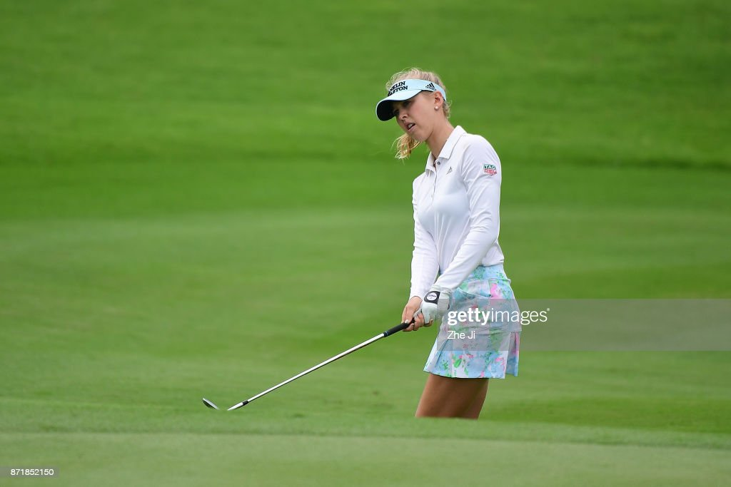 Jessica Korda of the U.S. plays a shot during the Blue Bay LPGA at Jian Lake Blue Bay golf course on November 8, 2017 in Hainan Island, China.