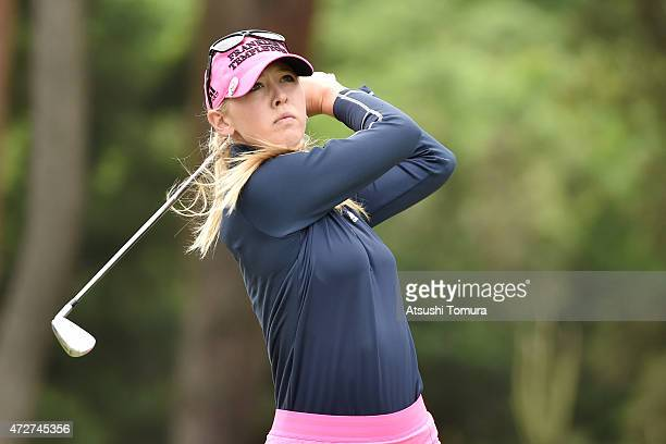Jessica Korda of the USA hits her tee shot on the 2nd hole during the third round of the World Ladies Championship Salonpas Cup at the Ibaraki Golf...