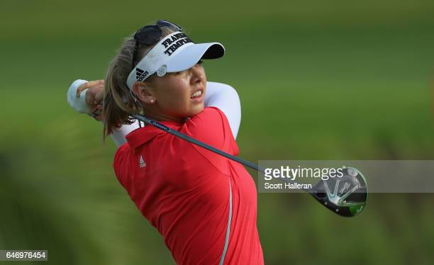 Jessica Korda of the USA hits her tee shot on the second hole during the first round of the HSBC Women's Champions on the Tanjong Course at Sentosa...