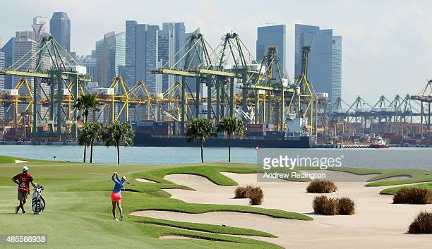 Jessica Korda of the USA plays her second shot on the fifth hole during the final round of the HSBC Women's Champions at Sentosa Golf Club on March 8...