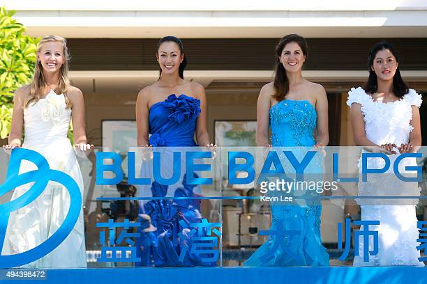 Jessica Korda of United States Michelle Wie of United States Sandra Gal of Germany and Shi Yu Lin of China pose for a picture on Day 2 of Blue Bay...