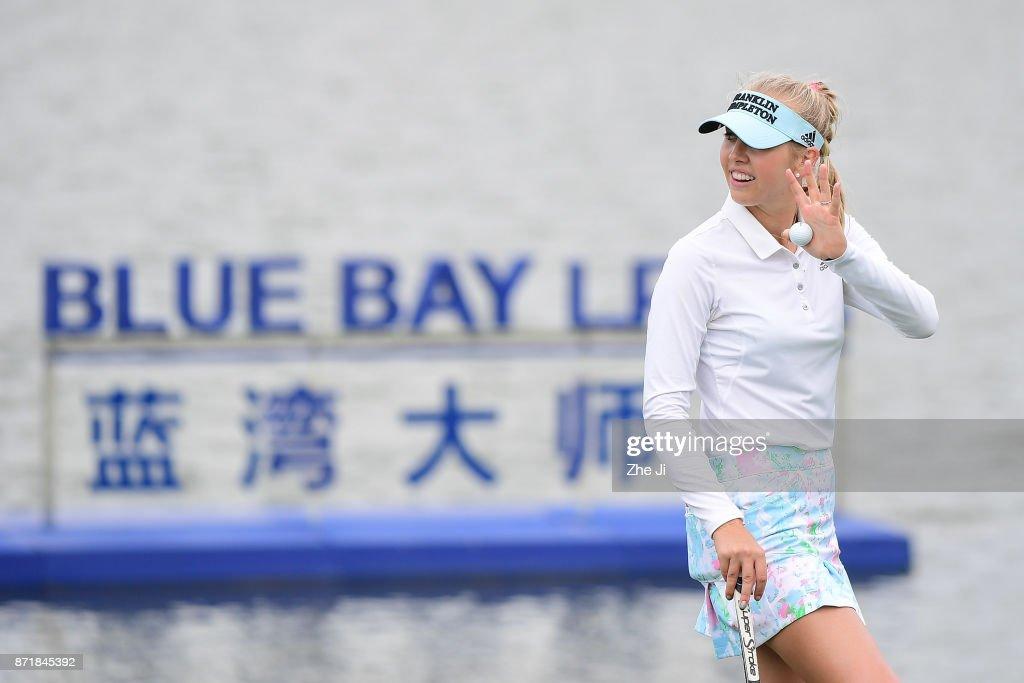 Jessica Korda of United States plays a shot during the Blue Bay LPGA at Jian Lake Blue Bay golf course on November 8, 2017 in Hainan Island, China.