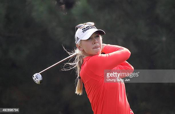 Jessica Korda of United States plays a tee shot on the 4th hole during round two of the LPGA KEB HanaBank on October 16 2015 in Incheon South Korea