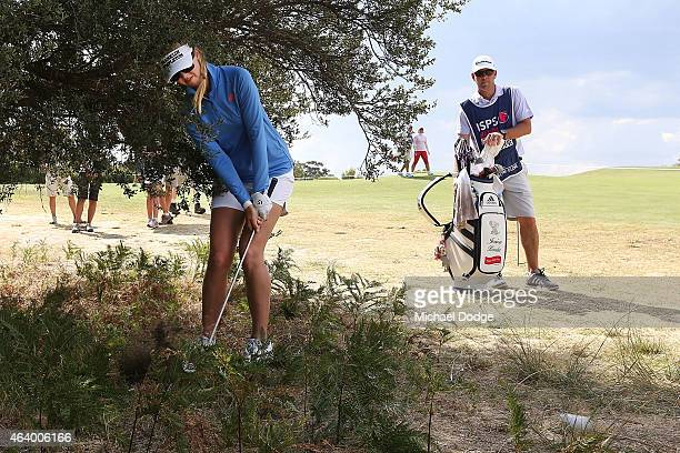 Jessica Korda of USA hits an approach shot on the 11th hole during day three of the LPGA Australian Open at Royal Melbourne Golf Course on February...