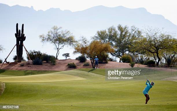 Jessica Korda plays her second shot on the 10th hole during the continuation of the first round of the LPGA Founders Cup at Wildfire Golf Club on...