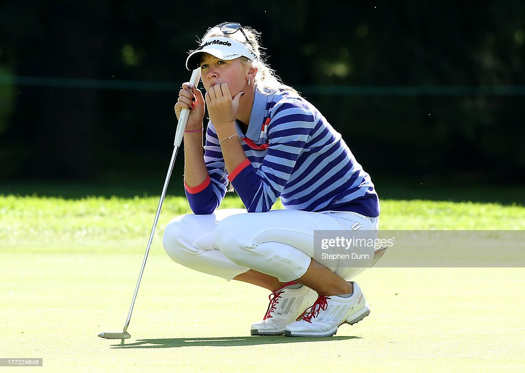 <a gi-track='captionPersonalityLinkClicked' href=/galleries/search?phrase=Jessica+Korda&family=editorial&specificpeople=5410628 ng-click='$event.stopPropagation()'>Jessica Korda</a> waits to putt on the firs green during the CN Canadian Women's Open at Royal Mayfair Golf Club on August 22, 2013 in Edmonton, Alberta, Canada.