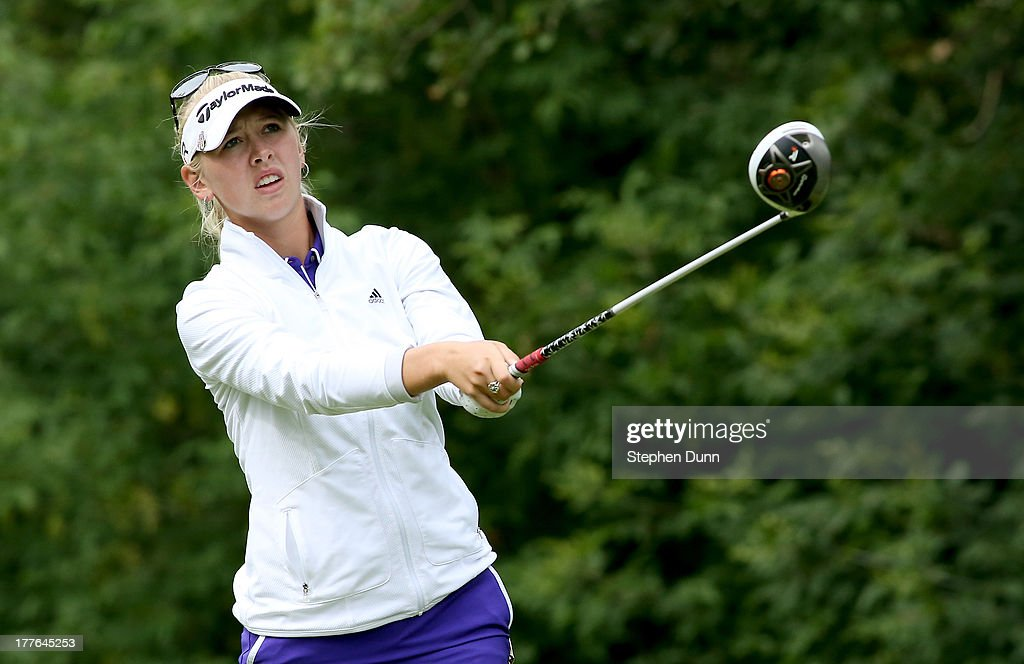 Jessica Korda watches her tee shot on the fifth hole during the final round of the CN Canadian Women's Open at Royal Mayfair Golf Club on August 25, 2013 in Edmonton, Alberta, Canada.